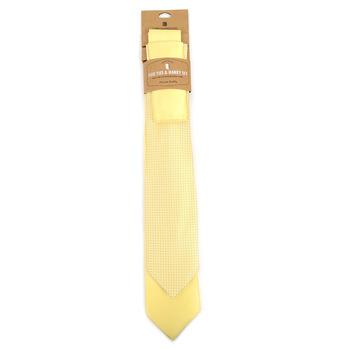 Dots & Solid Light Yellow Microfiber Poly Woven Two Ties & Hanky Set - TH2X-LT-YW1