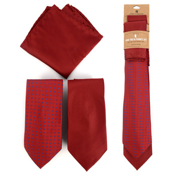 Dots & Solid Burgundy Microfiber Poly Woven Two Ties & Hanky Set - TH2X-BURG1