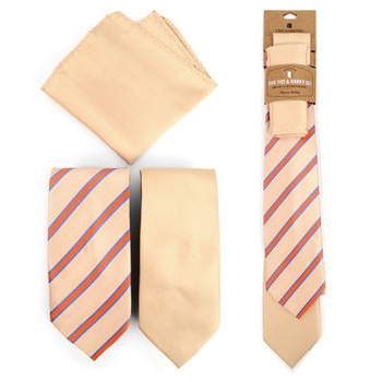 Striped & Solid Microfiber Poly Woven Two Ties & Hanky Set - TH2X-PCH1