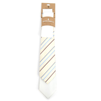 Striped & Solid White Microfiber Poly Woven Two Ties & Hanky Set - TH2X-LT-WY3