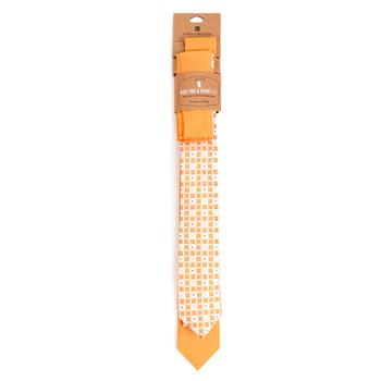 Geometric & Solid Microfiber Poly Woven Two Skinny Ties & Hanky Set - STH2X-2