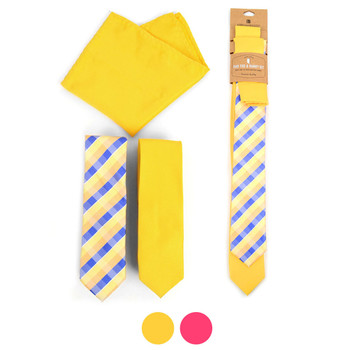 Plaid & Solid Microfiber Poly Woven Two Skinny Ties & Hanky Set - STH2X-3