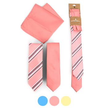 Striped & Solid Microfiber Poly Woven Two Skinny Ties & Hanky Set - STH2X-4
