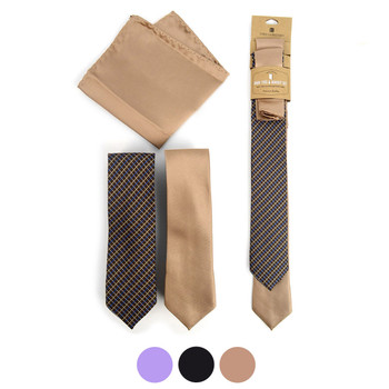 Plaid & Solid Microfiber Poly Woven Two Skinny Ties & Hanky Set - STH2X-6