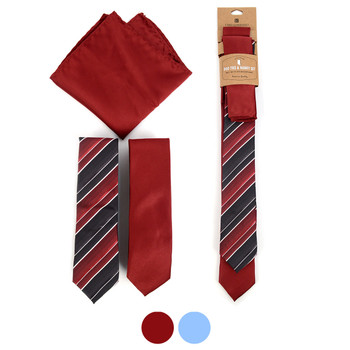 Striped & Solid Microfiber Poly Woven Two Skinny Ties & Hanky Set - STH2X-8