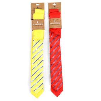 Striped & Solid Microfiber Poly Woven Two Skinny Ties & Hanky Set - STH2X-9