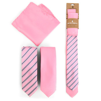 Striped & Solid Pink Microfiber Poly Woven Two Skinny Ties & Hanky Set - STH2X-PK2