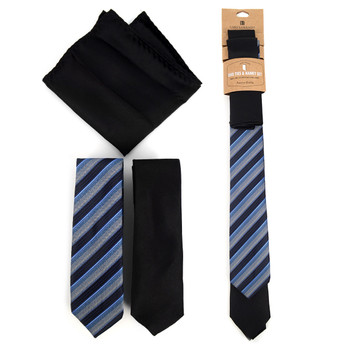 Striped & Solid Black Microfiber Poly Woven Two Skinny Ties & Hanky Set - STH2X-BK1