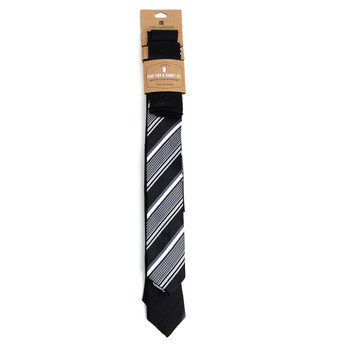 - Striped & Solid Black Microfiber Poly Woven Two Skinny Ties & Hanky Set - STH2X-BK3