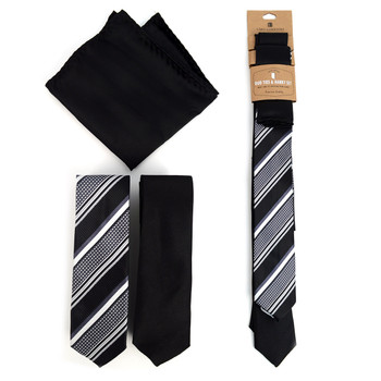 Striped & Solid Black Microfiber Poly Woven Two Skinny Ties & Hanky Set - STH2X-BK3
