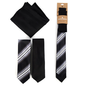 Striped & Solid Black Microfiber Poly Woven Two Skinny Ties & Hanky Set - STH2X-BK4