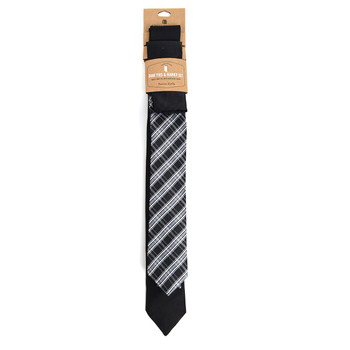 Plaid & Solid Black Microfiber Poly Woven Two Skinny Ties & Hanky Set - STH2X-BK9