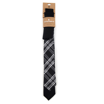 Plaid & Solid Black Microfiber Poly Woven Two Skinny Ties & Hanky Set - STH2X-BK10