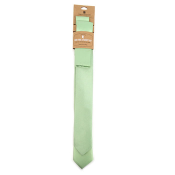 Dots & Solid Light Green Microfiber Poly Woven Two Skinny Ties & Hanky Set - STH2X-L-GR1
