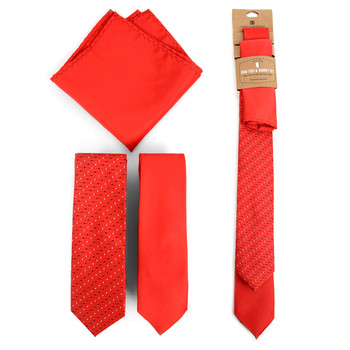 Dots & Solid Red Microfiber Poly Woven Two Skinny Ties & Hanky Set - STH2X-RD2