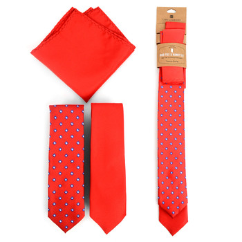 Dots & Solid Red Microfiber Poly Woven Two Skinny Ties & Hanky Set - STH2X-RD3