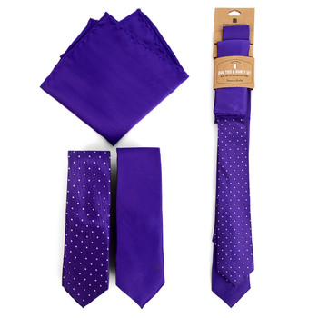 Dots & Solid Purple Microfiber Poly Woven Two Skinny Ties & Hanky Set - STH2X-PUR1