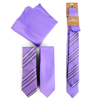 Striped & Solid Lavender Microfiber Poly Woven Two Skinny Ties & Hanky Set - STH2X-LAV1