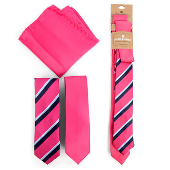 Striped & Solid Fuchsia Microfiber Poly Woven Two Skinny Ties & Hanky Set - STH2X-FA1