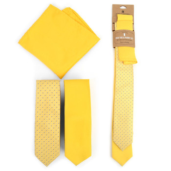 Dots & Solid Yellow Microfiber Poly Woven Two Skinny Ties & Hanky Set - STH2X-LT-YW3