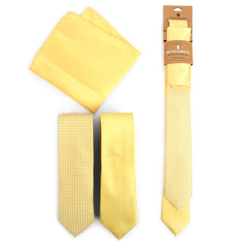 Dots & Solid Light Yellow Microfiber Poly Woven Two Skinny Ties & Hanky Set - STH2X-LT-YW1