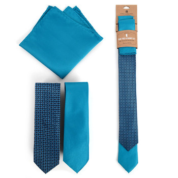 Geometric & Solid Turquoise Microfiber Poly Woven Two Skinny Ties & Hanky Set - STH2X-TURQ2