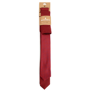 Dots & Solid Burgundy Microfiber Poly Woven Two Skinny Ties & Hanky Set - STH2X-BURG1