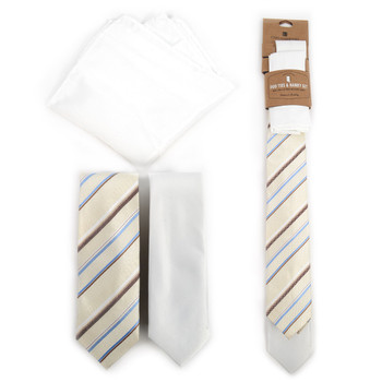 Striped & Solid White Microfiber Poly Woven Two Skinny Ties & Hanky Set - STH2X-YW3