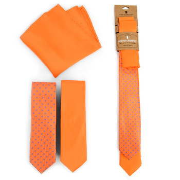 Dots & Solid Orange Microfiber Poly Woven Two Skinny Ties & Hanky Set - STH2X-ORG2