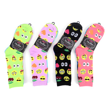 4-Packs (3 pairs/pack) Women's Emoji Novelty Socks EBCH-832