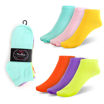 Assorted (6 pairs/pack) Women's Spring Colors Solid Low Cut Socks LN6S1630