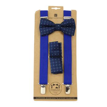 3pc Men's Blue Clip-on Suspenders, Navy Bow Tie & Hanky Sets FYBTHSU-BL10