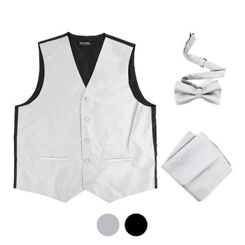 6-Packs Men's Mini Square Pattern Polyester Vests, Bow Tie & Hanky Set - PMV4206