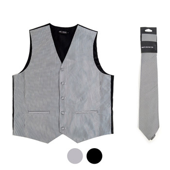 6-Packs Men's  Stripes Pattern Polyester Vests & Necktie Set - PMV3401