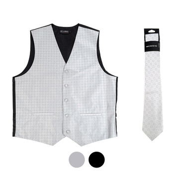 6-Packs Men's Square Pattern Polyester Vests & Necktie Set - PMV6580