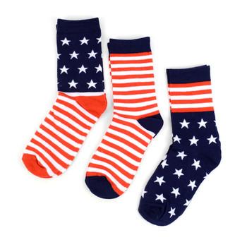3 Pairs Pack Women's American Flag Socks - 3PKS-WAF