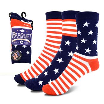 3 Pairs Pack Women's American Flag Novelty Socks - 3PKS-WAF