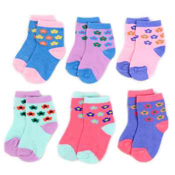 24 Pairs Assorted Infant Girl's Flower Pattern Socks 0-3 Yrs - 12PKS-IFS1-03