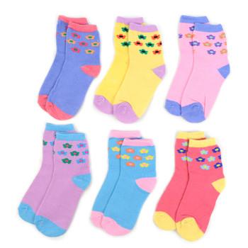 24 Pairs Assorted Toddler Girl's Flower Pattern Socks 2-4 Yrs - 12PKS-TFS1-24