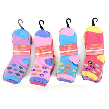 6 Pairs Assorted Toddler Girl's Flower Pattern Socks 2-4 Yrs - 12PKS-TFS1-24