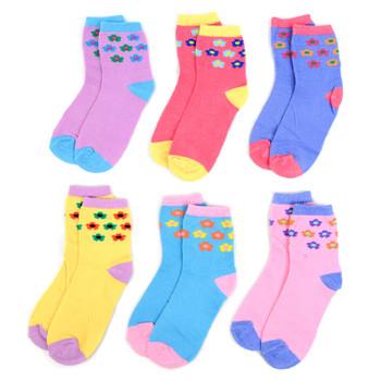 24 Pairs Assorted Kids Girl's Flower Pattern Socks 4-7 Yrs - 12PKS-KFS1-47