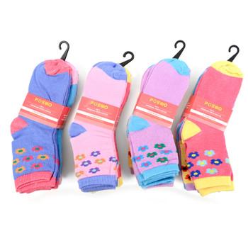 6 Pairs Assorted Kids Girl's Flower Pattern Socks 4-7 Yrs - 12PKS-KFS1-47