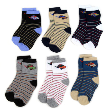 24 Pairs Assorted Toddler Boy's Striped Pattern Socks 2-4 Yrs - 12PKS-TFS2-24