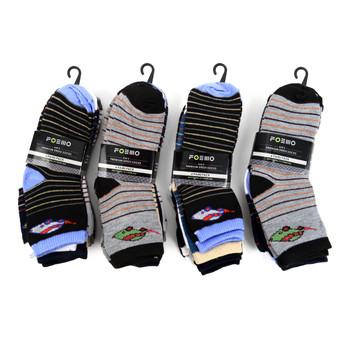 6 Pairs Assorted Kids Boy's Striped Pattern Socks 4-7 Yrs - 12PKS-TFS2-47