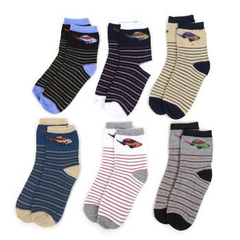 24 Pairs Assorted Kids Boy's Striped Pattern Socks 4-7 Yrs - 12PKS-TFS2-47
