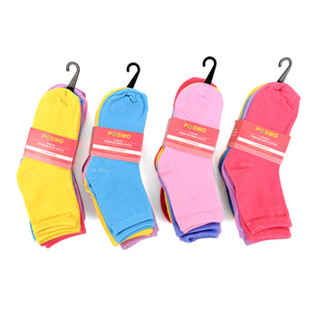6 Pairs Assorted Solid Color Toddler Socks 2-4 Yrs - GSS12ASST24