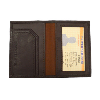 Leather Card & ID Holder 2CC BRN
