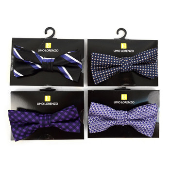 24pc Assorted Boy's Mixed Pattern Poly Woven Banded Bow Ties - 24FBBB