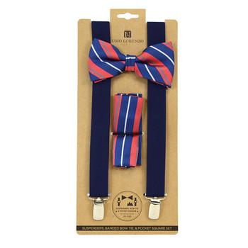 3pc Men's Blue Clip-on Suspenders, Striped Pattern Bow Tie & Hanky Sets FYBTHSU-BL11