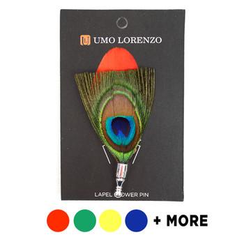 Men's Peacock Feather Clutch Back Lapel Pins - FLP1805